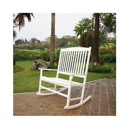 Amazing Rocking Chair Double White Wooden Backrest Yard Seat Swing Bralicious Painted Fabric Chair Ideas Braliciousco
