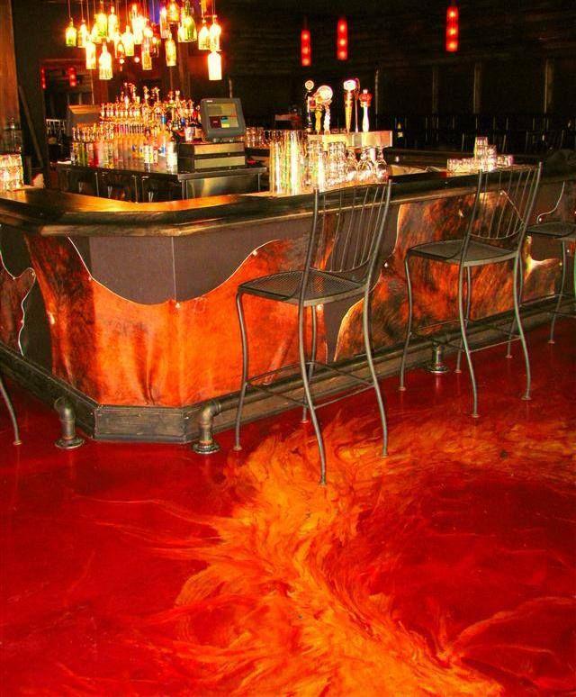 Crazy Looking Fire Lava Floor Done With Metallic Epoxy Concrete Decor Epoxy Floor Bar Flooring