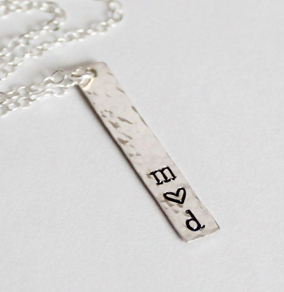 Sterling Silver Couples Necklace, Valentines Day Necklace, Bar Necklace, Two Initials, Couple Jewlery Engagement Gift