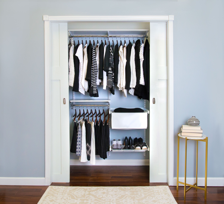 Freedomrail Premium Adjustable Closet Kit 48 52 Closet Kits Organized Living Small Closet Organization