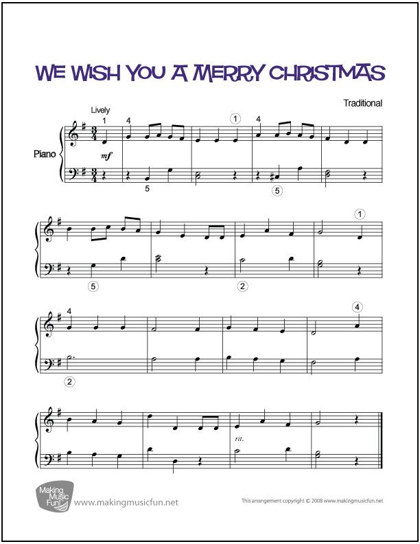 We Wish You A Merry Christmas Easy Piano Sheet Music Digital Print Visit Makingmusicfun Net For Free Sheet Music Mus Piano Sheet Music Sheet Music Piano