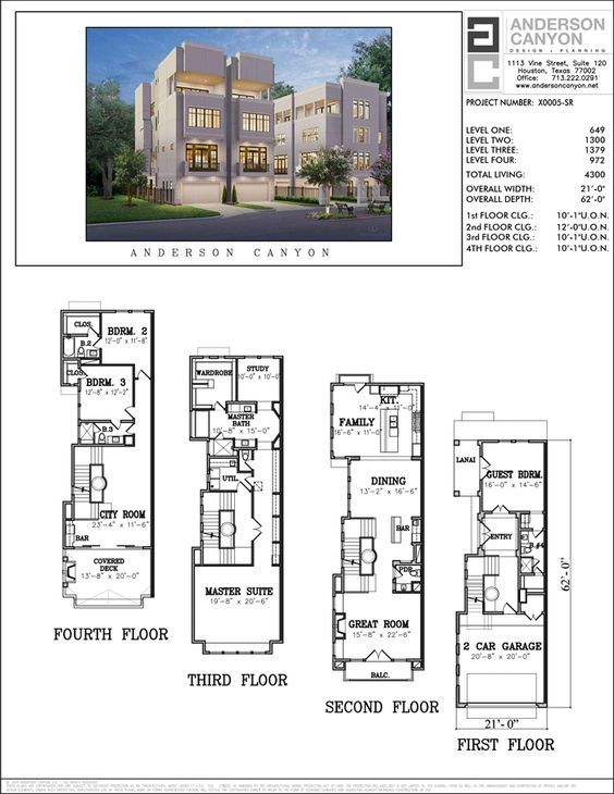 Four Story Townhouse Plan X0005 Town House Floor Plan Home Design Floor Plans House Floor Plans