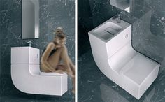 the Sink/Toilet Combo by Roca is an all-inclusive water recycling system that reprocesses the used water to flush the toilet