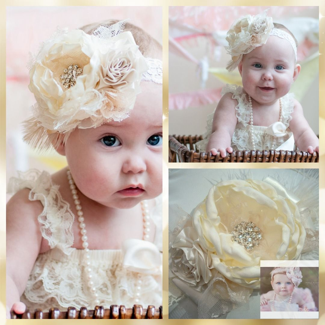 Baby Headband hair band for baptism wedding flower girl Ivory Baby Bow Handmade