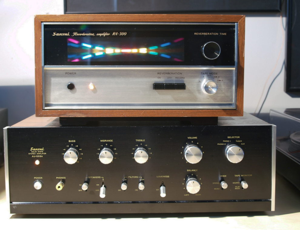Vintage Sansui amplifier and reverberation amplifier.