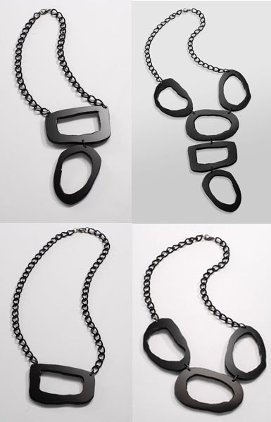 necklaces crafted in black lucite by Laura Matthews