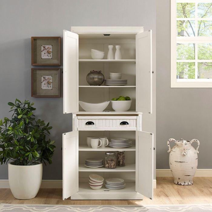 Best Seaside Kitchen Pantry Distressed White Crosley White 400 x 300