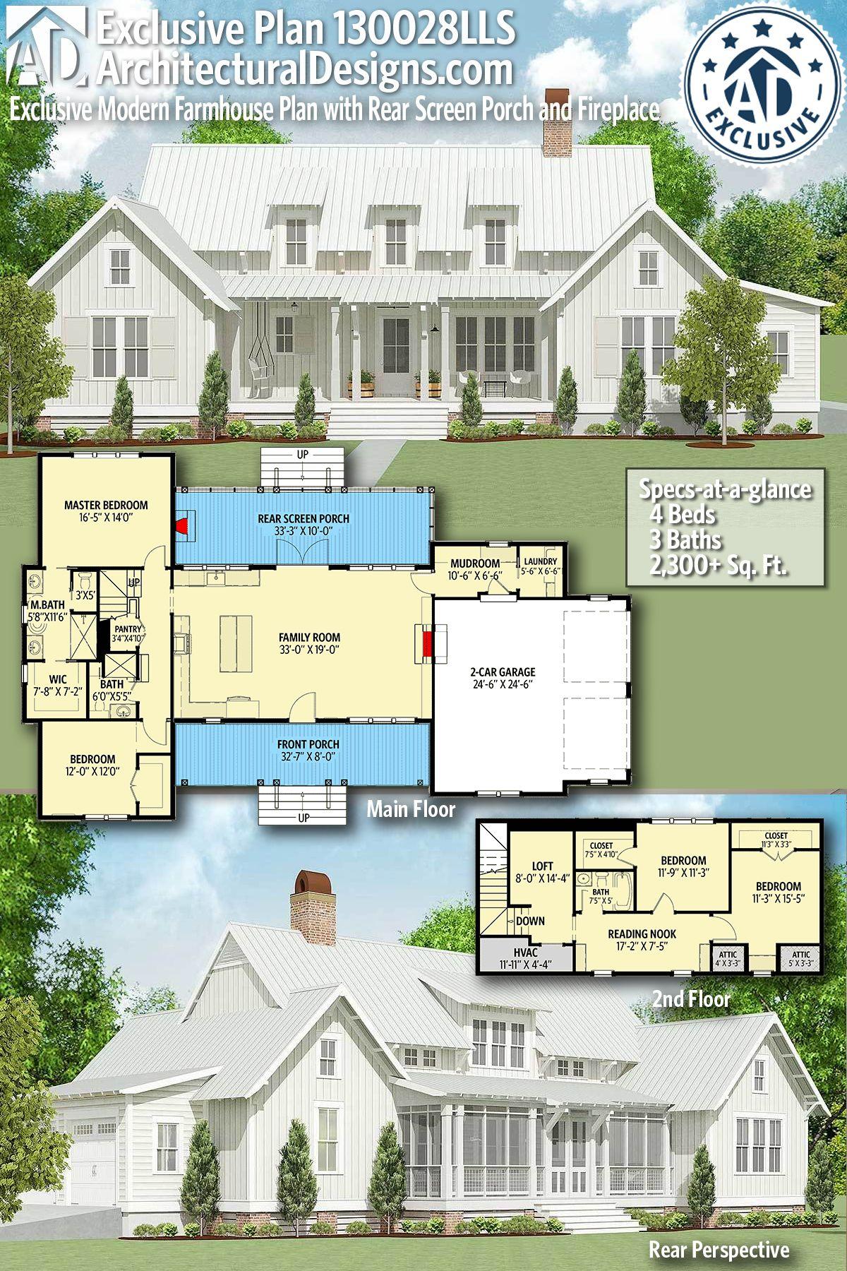 Modern Farmhouse Plan 130028lls Gives You 4 Beds 3 Bath 2 300 Sf Wouldn T You Swap T Modern Farmhouse Plans Farmhouse Plans Architectural Design House Plans