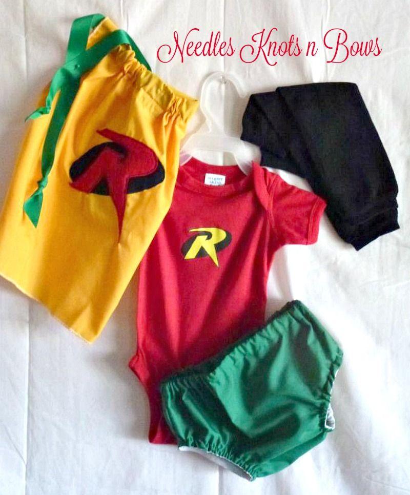 Robin Costume Baby Infant Newborn Toddler Superhero Halloween Fancy Dress
