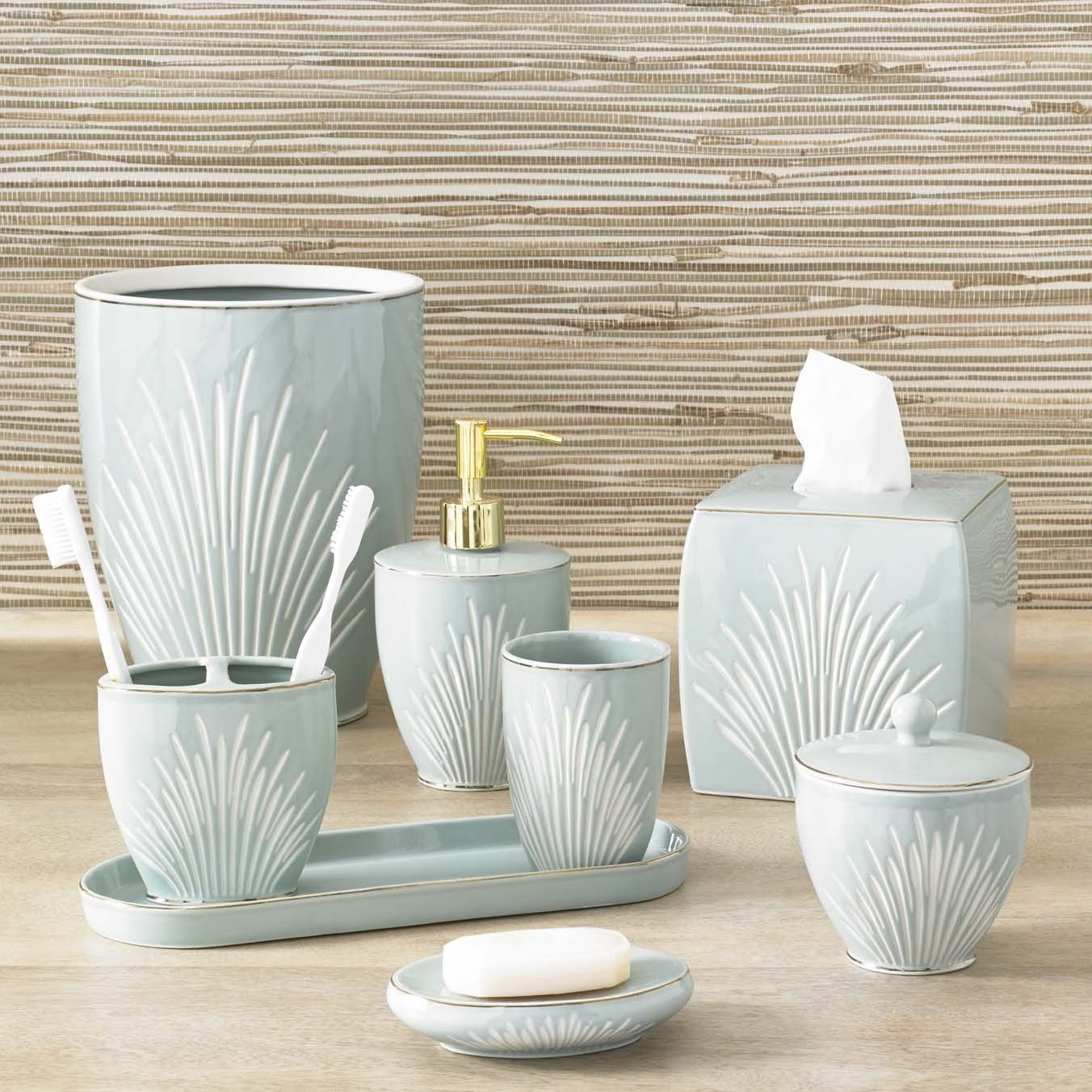 Our Coastal Porcelain Bath Accessory Set Will Transform Your Bath With Its  Tranquil Blue Color And