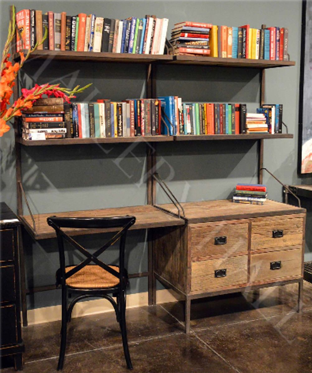 Industrial Wall Unit Bookcase with Desk Drawers Storage
