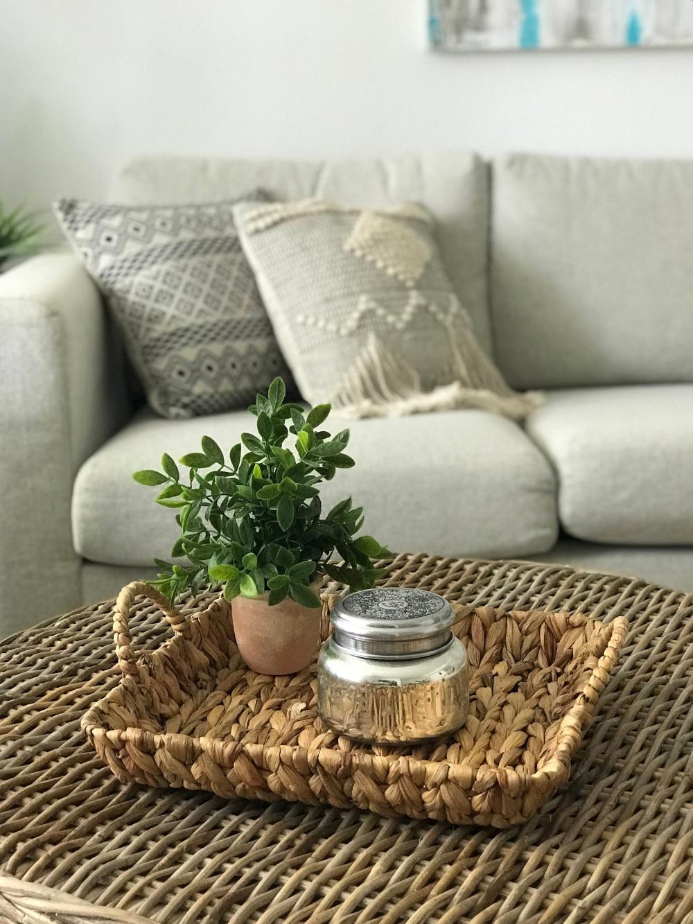Woven Wicker Tray Wicker Serving Tray With Handles Ottoman Tray Farmhouse Basket Tray Coffee Table Tray Water Hyacinth Tray Tray Table Decor Wicker Tray Coffee Table Decor Tray [ 1333 x 1000 Pixel ]