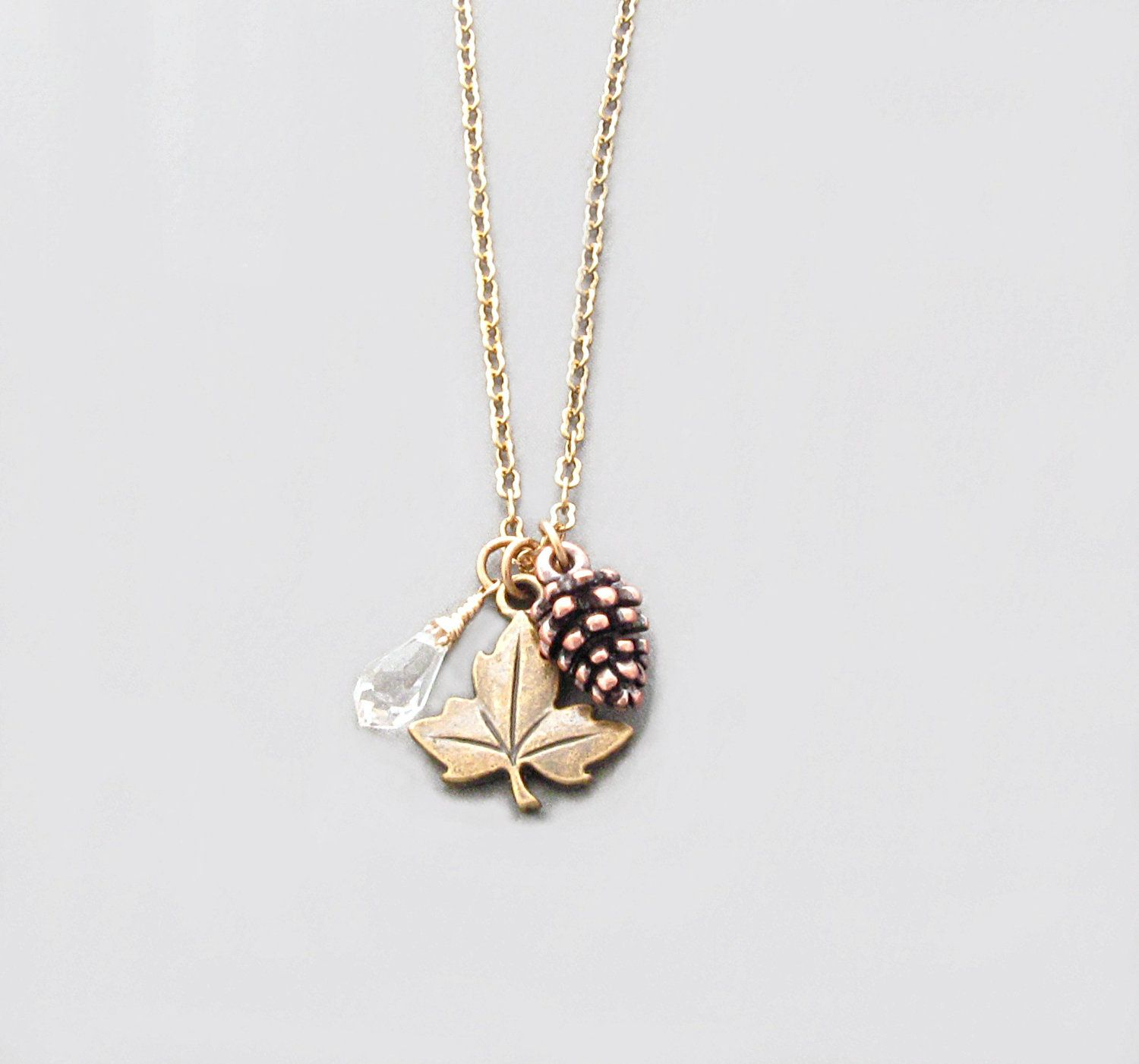 Autumn Jewelry, Pinecone Necklace, Leaf Necklace,