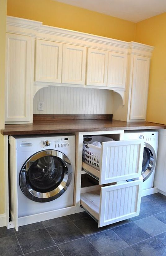 Laundry Room With White Cabinets And Wood Counter You Can Also
