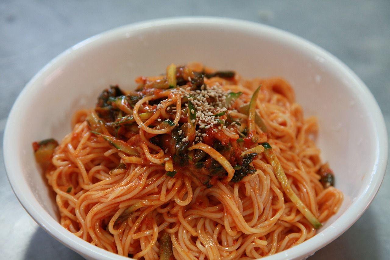 Food korean food bibim guksu noodles spicy nood food