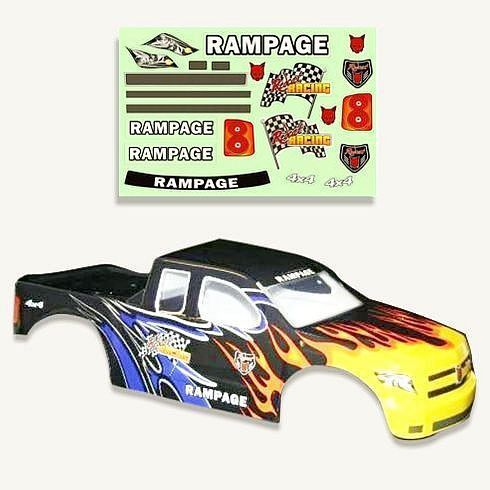 1//5 Scale Redcat Racing Truck Body Black Flame 50904