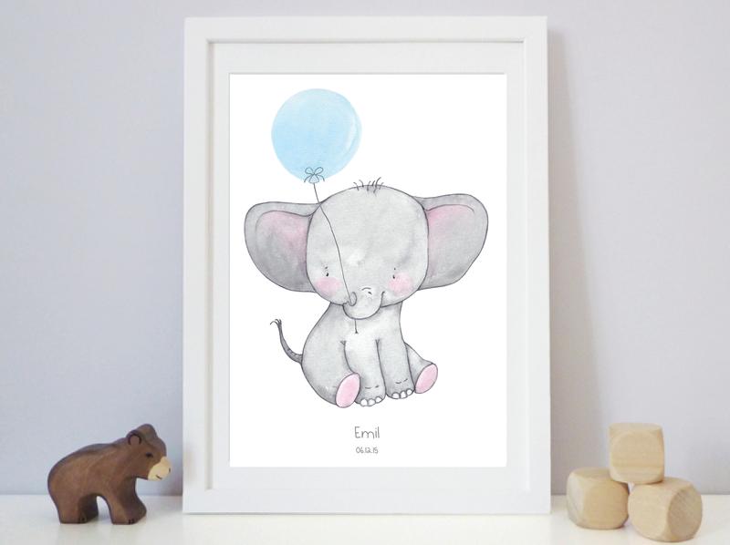 bilder kinderbild emma elefant blau kunstdruck ein designerst ck von fieneundfinn bei. Black Bedroom Furniture Sets. Home Design Ideas
