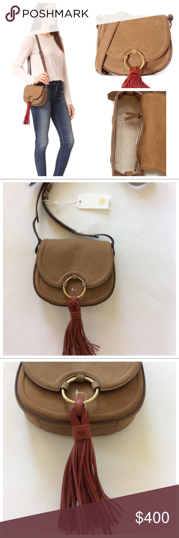 Tory Burch Tassel Mini Leather Saddle Bag Tory Burch Tassel Mini Leather  Saddle Bag in River Rock. Gorgeous nubuck leather bag Gold toned hardware. 2de7d41e87