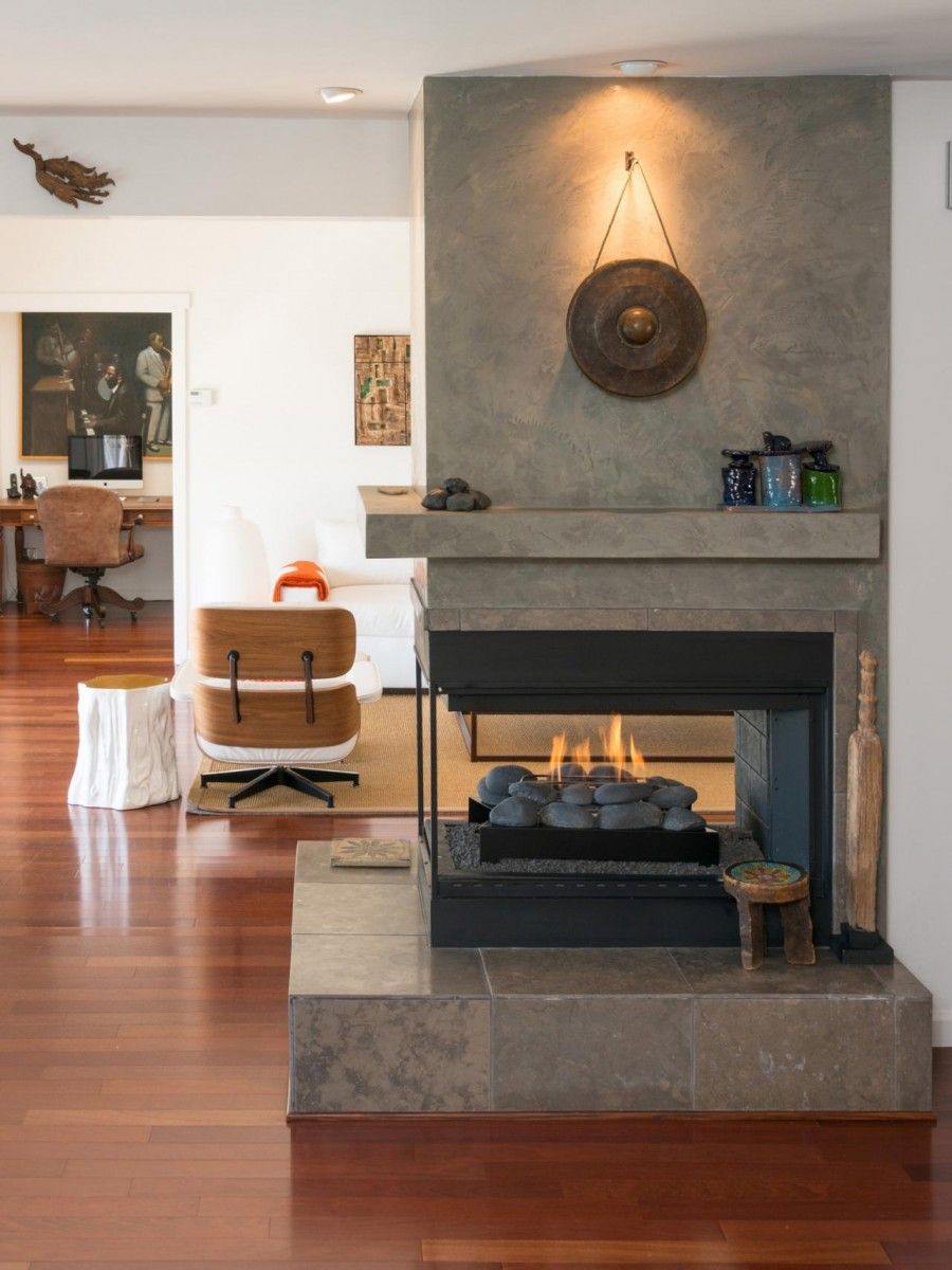 Room Division Is A Breeze With Two Sided Fireplace Open