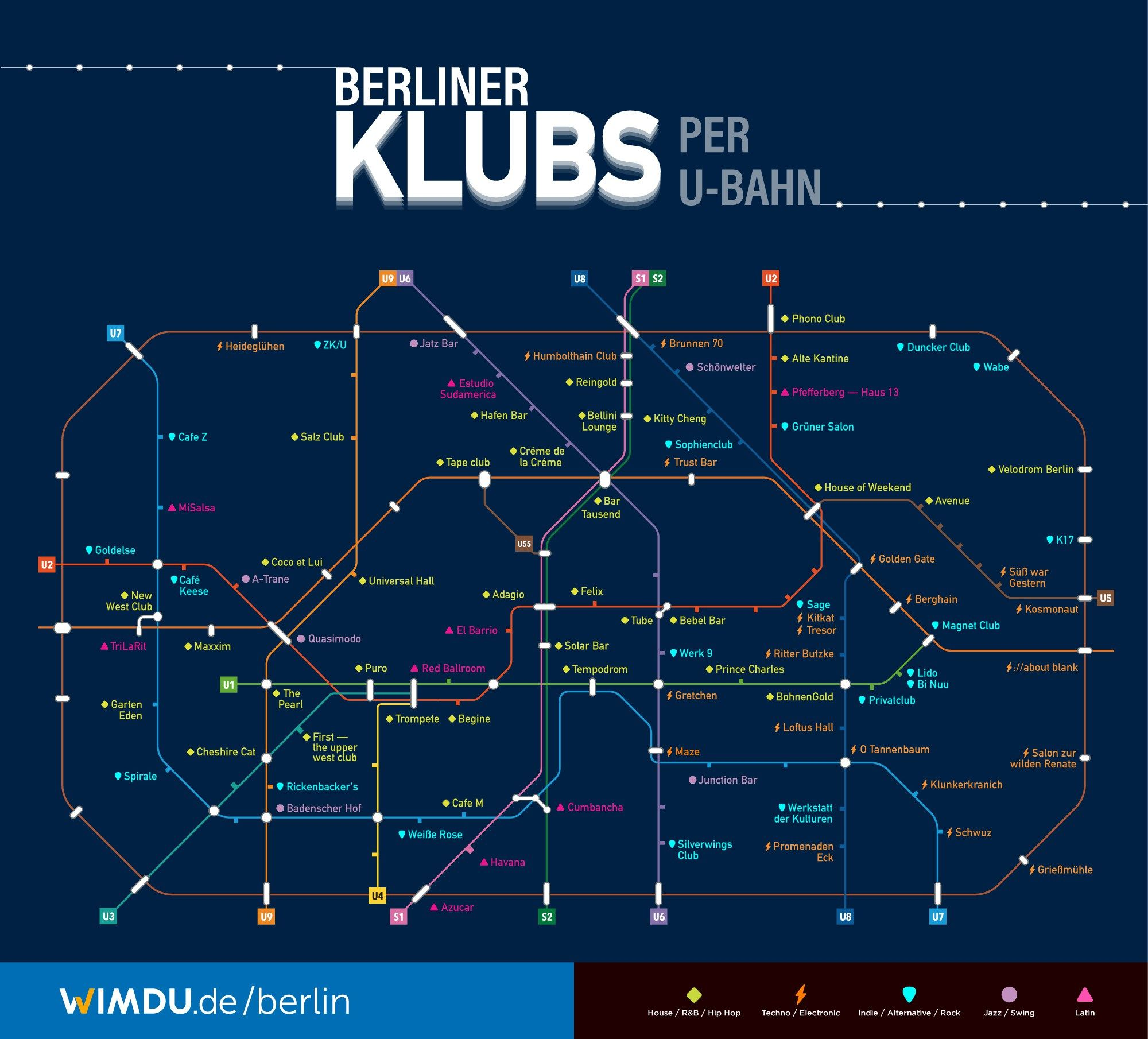 A Map Of Berlin Clubs By Train Stop U Bahn Fernsehturm Berlin Berlin