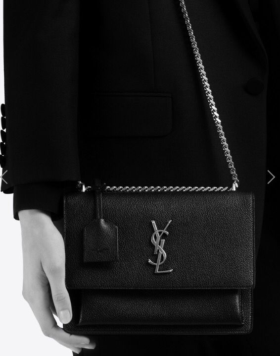2b99b9fc4418 MEDIUM SUNSET MONOGRAM SAINT LAURENT BAG IN BLACK GRAINED LEATHER ...
