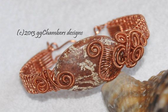 Copper Woven Wire Helix Bracelet with by ggChambersDesigns on Etsy, $78.00