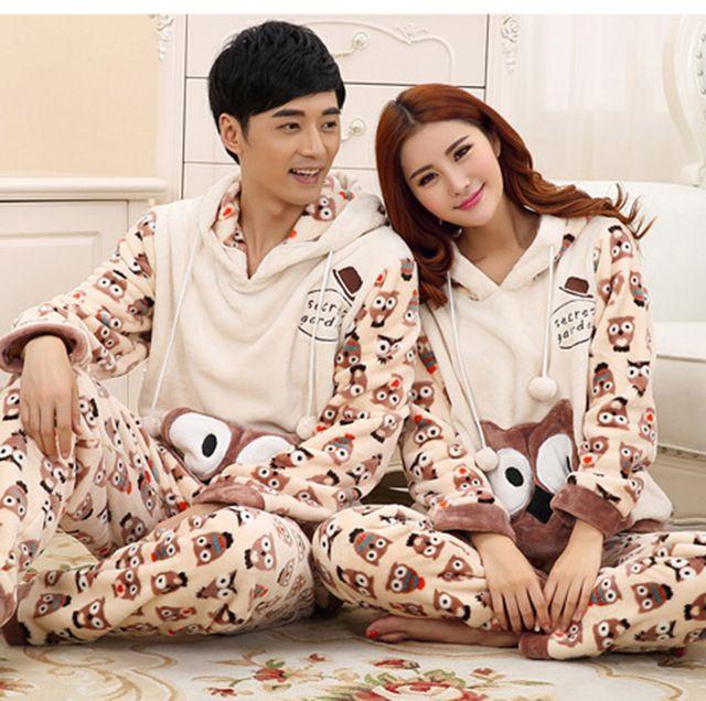 e40c5fb76f1453 Pijama para casais amantes de flanela com capuz camisola longue ...