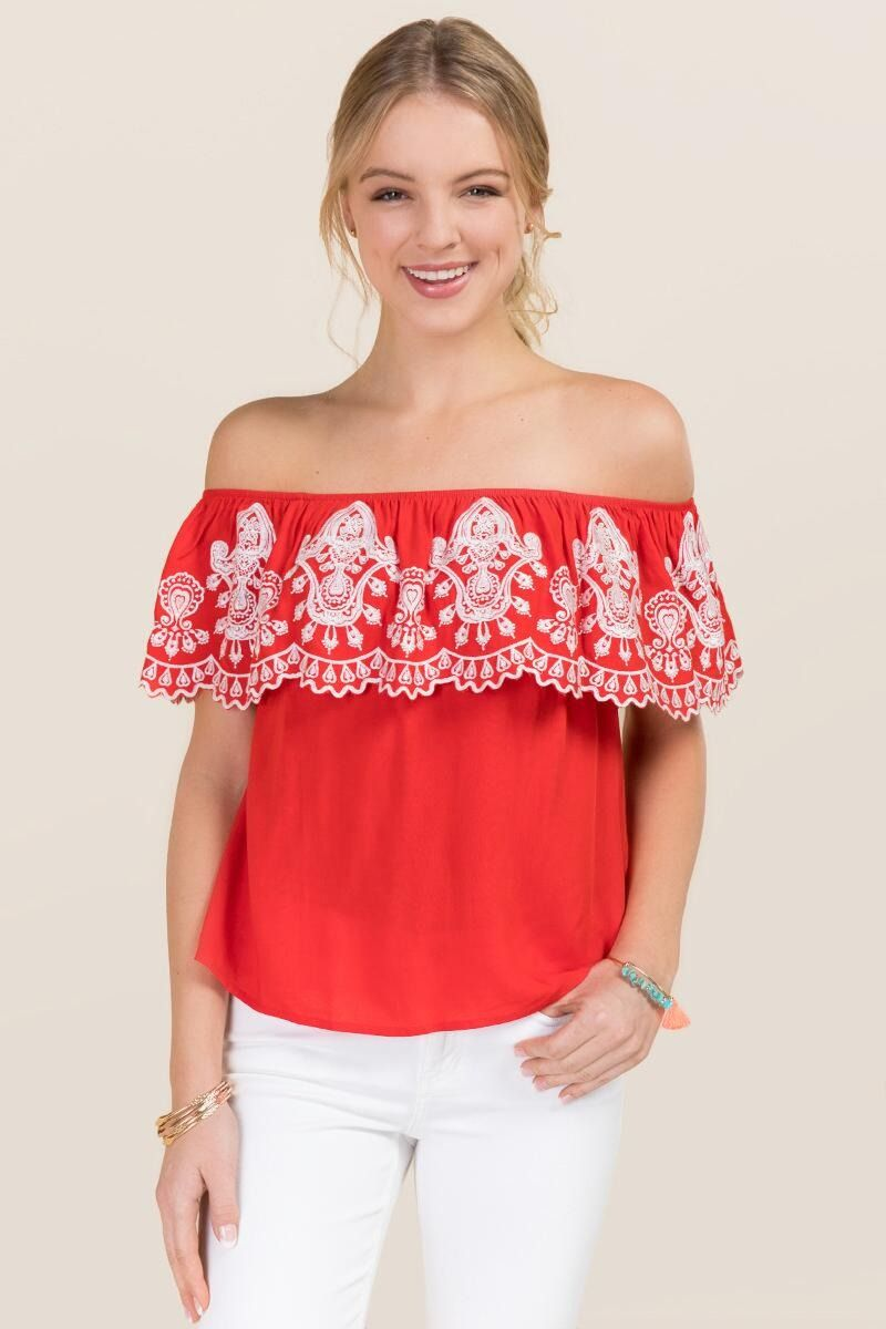 236fb14b4d88b6 Leyla Embroidered Ruffle Off The Shoulder Top
