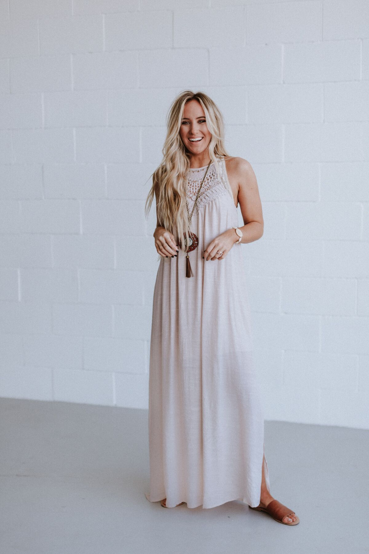 a30e9c05525 ... on sunny days in this airy lightweight lace motif halter maxi dress.  This dress is partially lined with high side slits and button loop keyhole  back.
