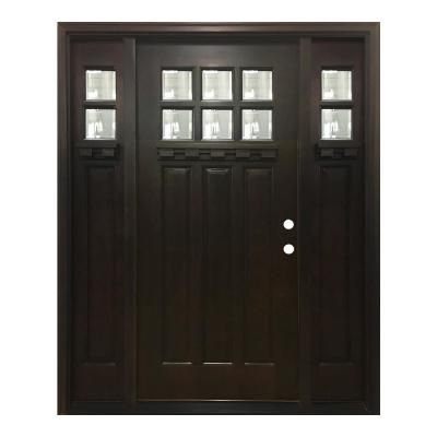 Steves Sons 64 In X 80 In Craftsman Bungalow 6 Lite Left Hand Inswing Hickory Stained Wood Prehung Front Door 12 In Sidelites M3306 123612 Hy 4ilh Craftsman Front Doors Craftsman Door Craftsman Bungalows