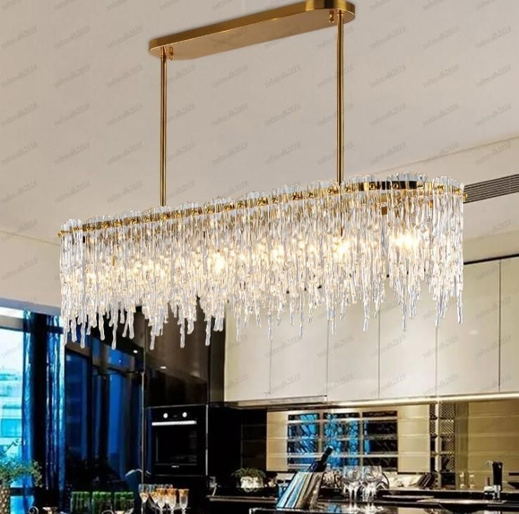Luxury Design Rectangular Chandelier Led Lamp Ac110v 220v Glass