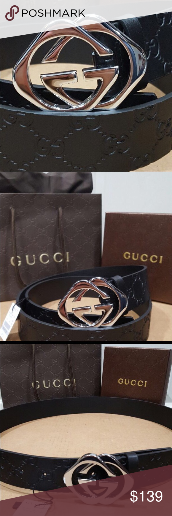 e359aa476fc ⚡️New Gucci Diamond Buckle Belt New Gucci black leather belt with a silver  diamond shaped