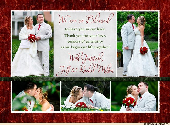 Joyous Christmas Wedding Thank You Card - Photos Collage Holiday - wedding thank you note
