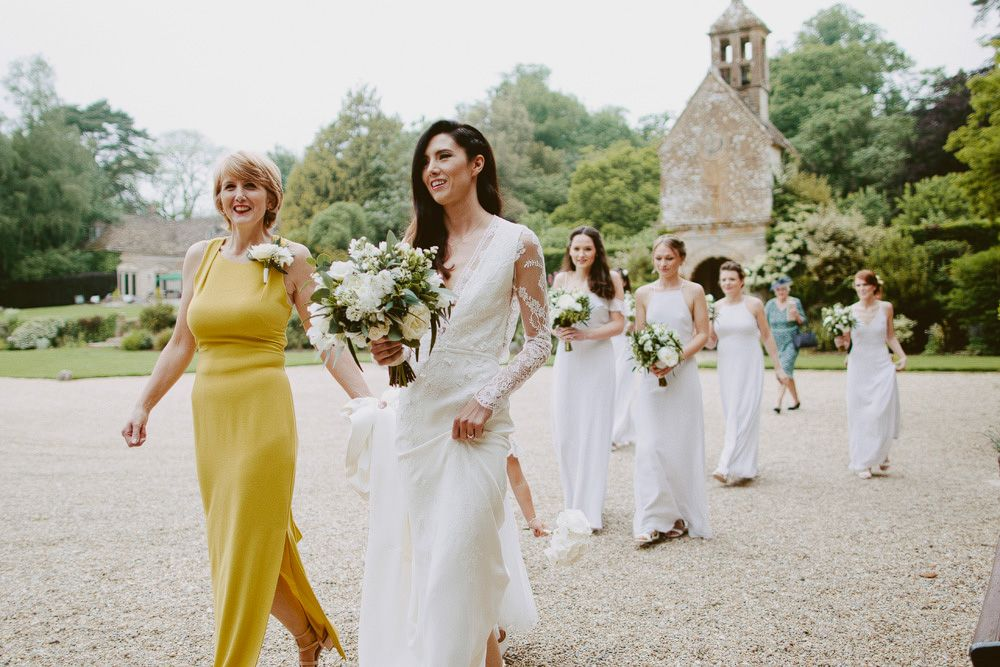 Elegant Wedding Party With Bride in Bespoke Wedding Dress - Elegant Wedding at Brympton House With Bride in Bespoke Wedding Dress With Lace Sleeves And Images From David Jenkins Photography