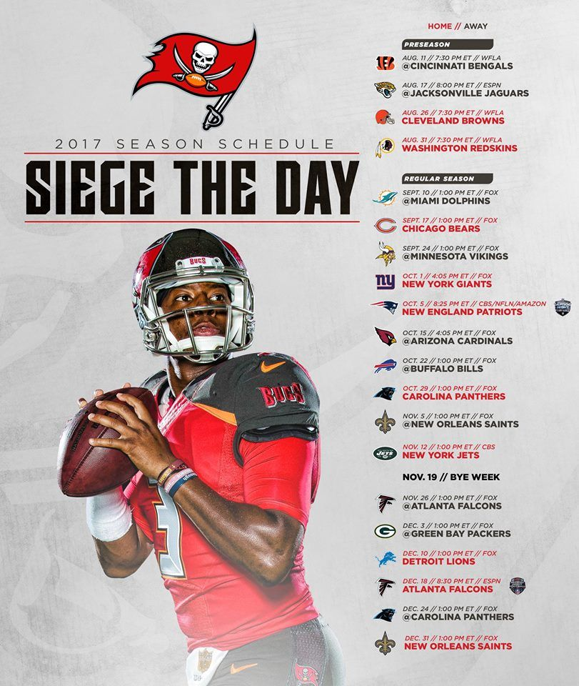 The 2017 Buccaneers Schedule Is Here Season Opener Dolphins Tnf Home Vs Patriots Mnf Home Vs F New England Patriots New York Giants Tampa Bay Buccaneers