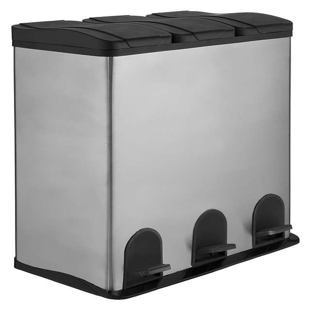 John Lewis & Partners 3 Section Recycling Bin, Stainless ...