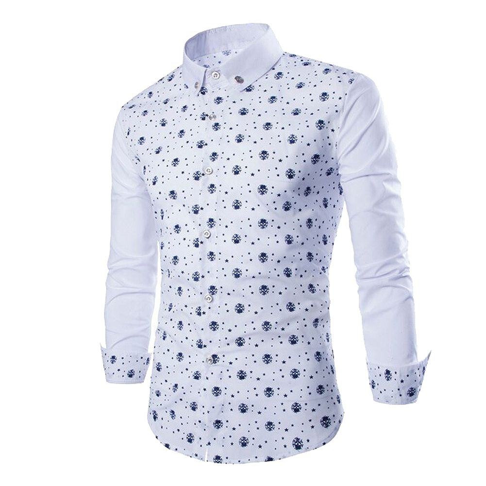 Mens Shirts Stars Skeleton Head Pattern Long Sleeve Casual Slim Fit