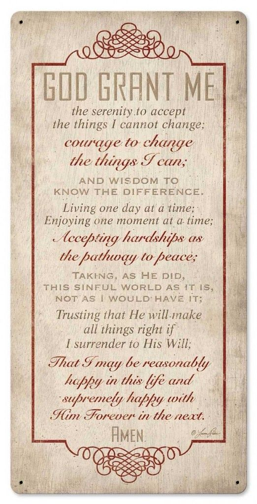 Serenity Prayer Metal Sign 12 x 24 Inches