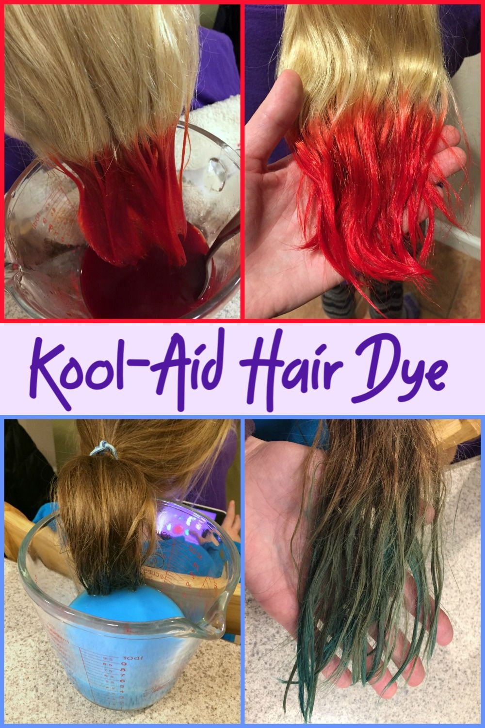 How To Dye Hair With Kool Aid In 2020 Food Coloring Hair Dye Kids Hair Color Hair Dye For Kids