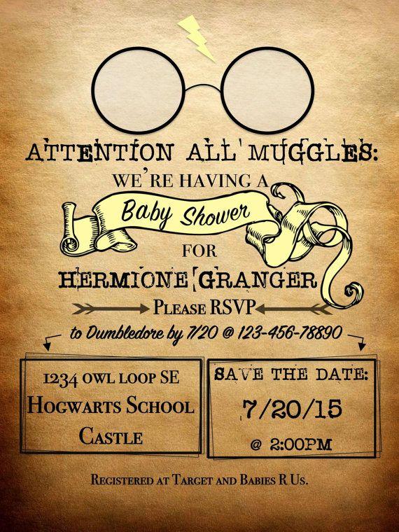 Elegant Personalized Harry Potter Theme Baby Shower Invitation   *Digital Documents*