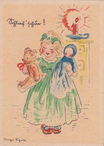 AK Kinder Inge Schott Schlaf' schön ! Mädchen mit Puppe und Teddy Bär.