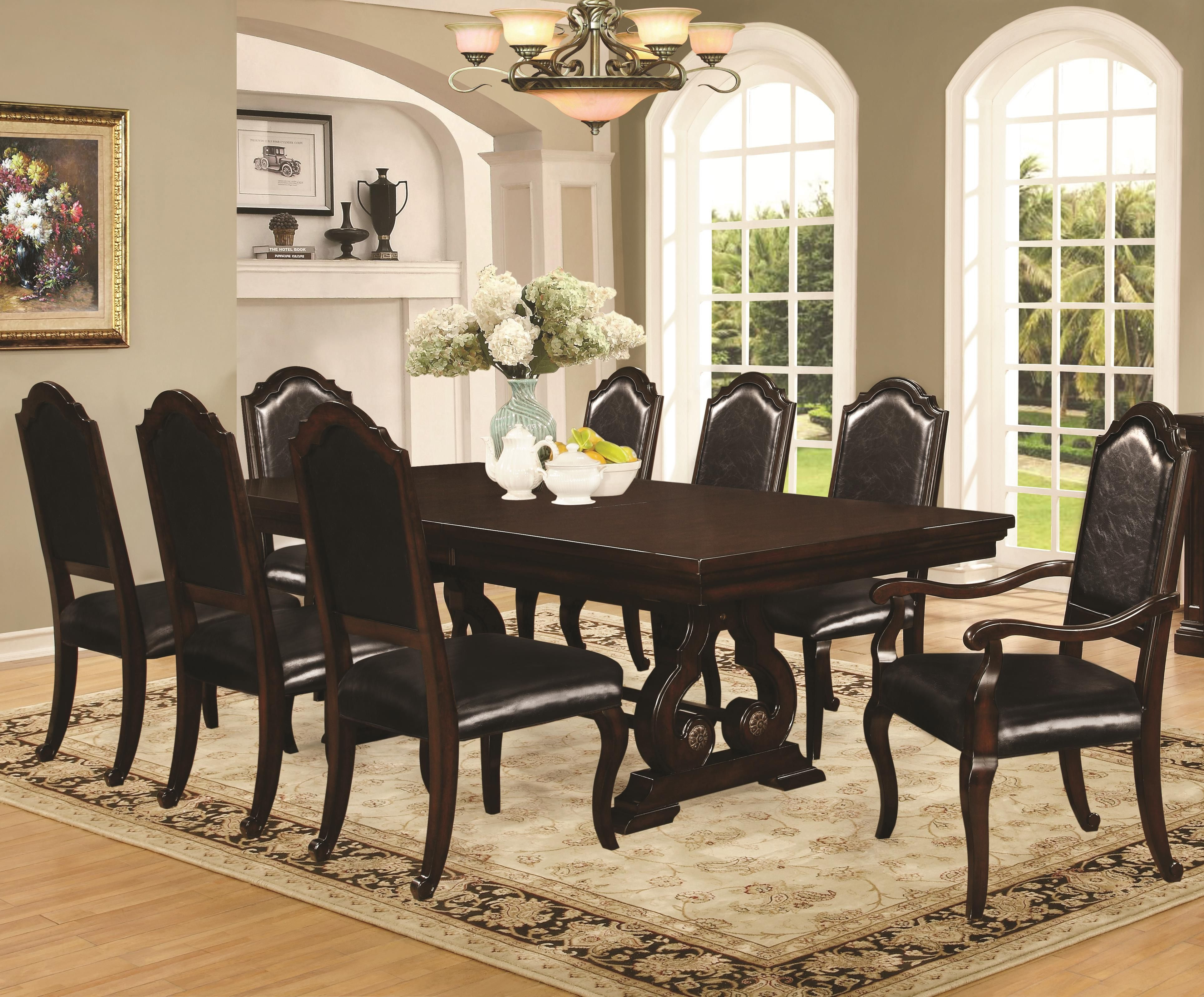 Coaster Bedford Dinner Table W Side And Arm Chair Set Rooms