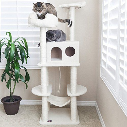 Majestic Pet 76 Inch Covered With Faux Sheepskin White Bungalow Cat Tree Modelno 76 Cats Tree Majestic Pet Cat Furniture Cat House For Sale