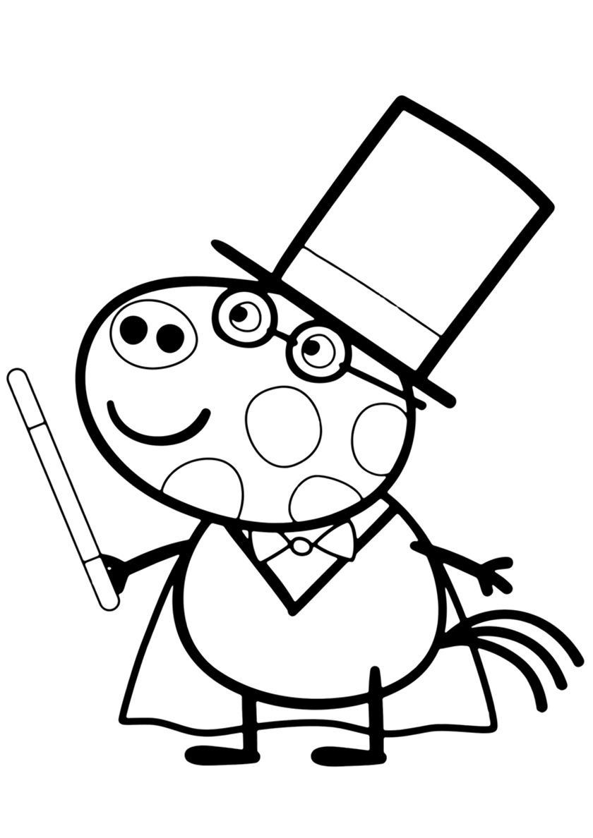 Magician Pedro Pony High Quality Free Coloring From The Category Peppa Pig More Printa Peppa Pig Colouring Peppa Pig Coloring Pages Birthday Coloring Pages