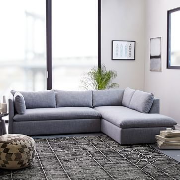 Shelter 2 Piece Terminal Chaise Sectional Blue Yarn Dyed Linen Weave Westelm