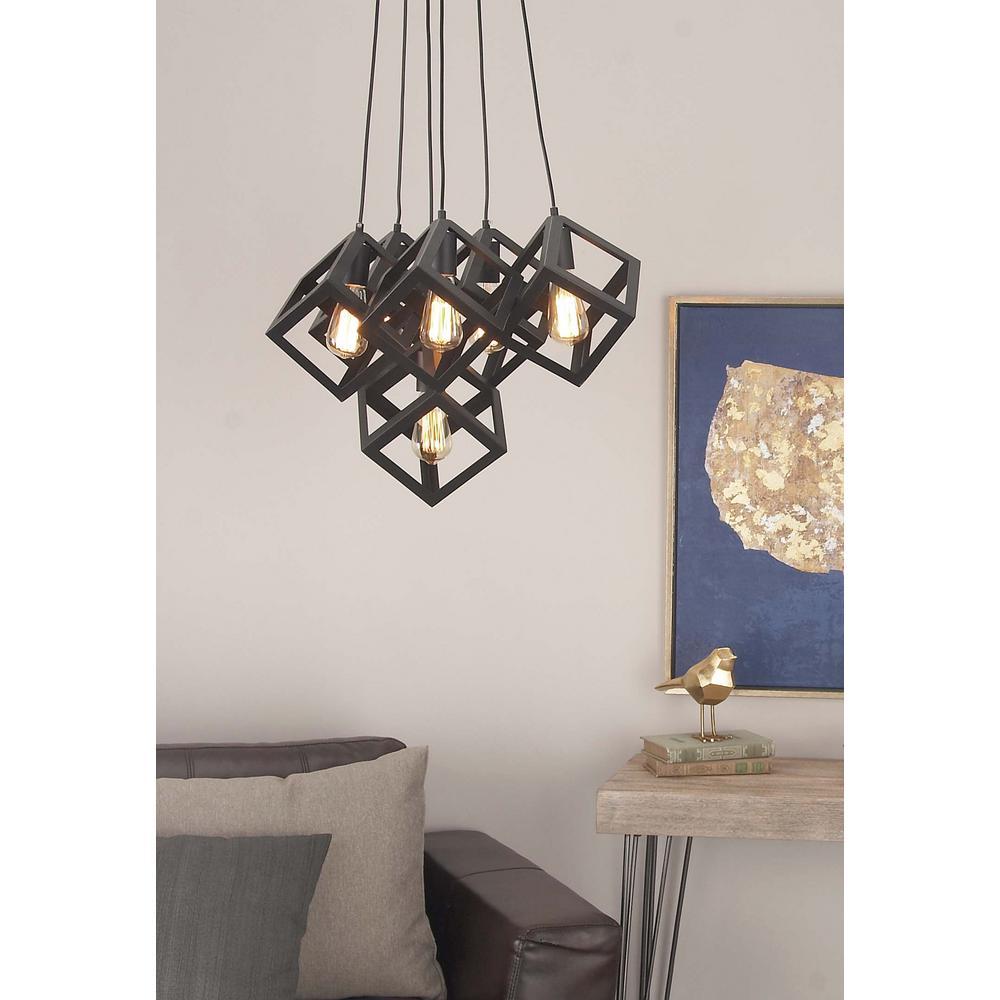Litton Lane 6 Light Modern Black Iron Cube Pendant 59279