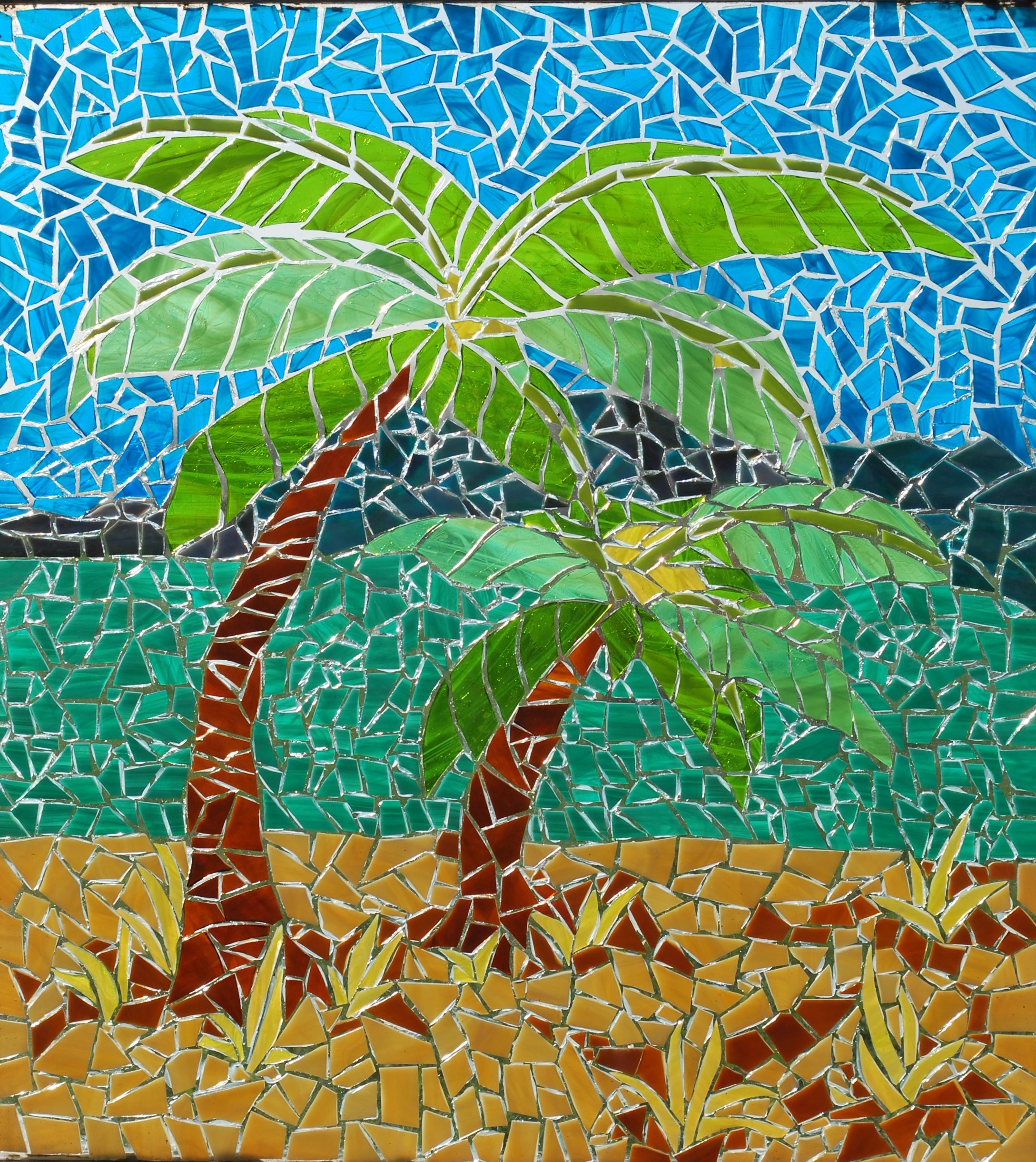 Stained Glass Mosaic By Booker Glass Palm Trees About