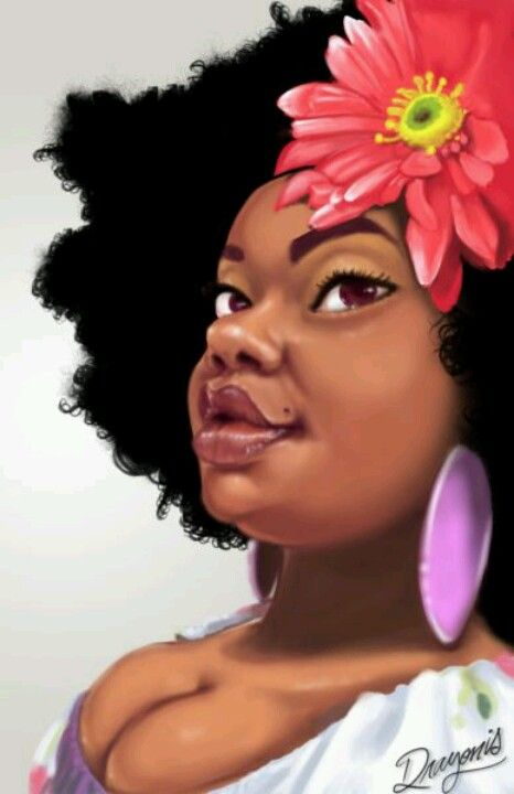 Natural Art, Curvy Girl  Black Afro Art  Art, Natural -2843
