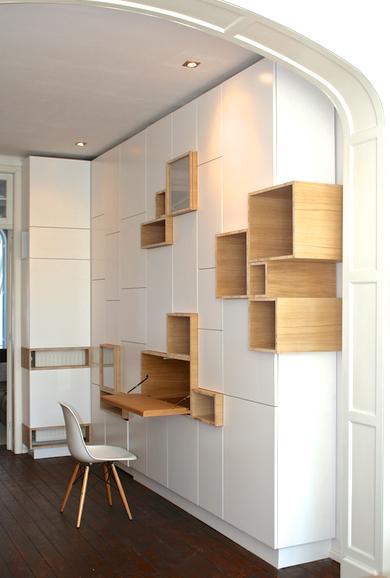 Bibliotheque bureau integr etageres en 2019 meuble rangement salon biblioth que rangement - Rangement placard mural ...
