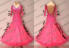 NEW READY TO WEAR CERISE GEORGETTE BALLROOM DANCE COMPETITION DRESS SIZE:6